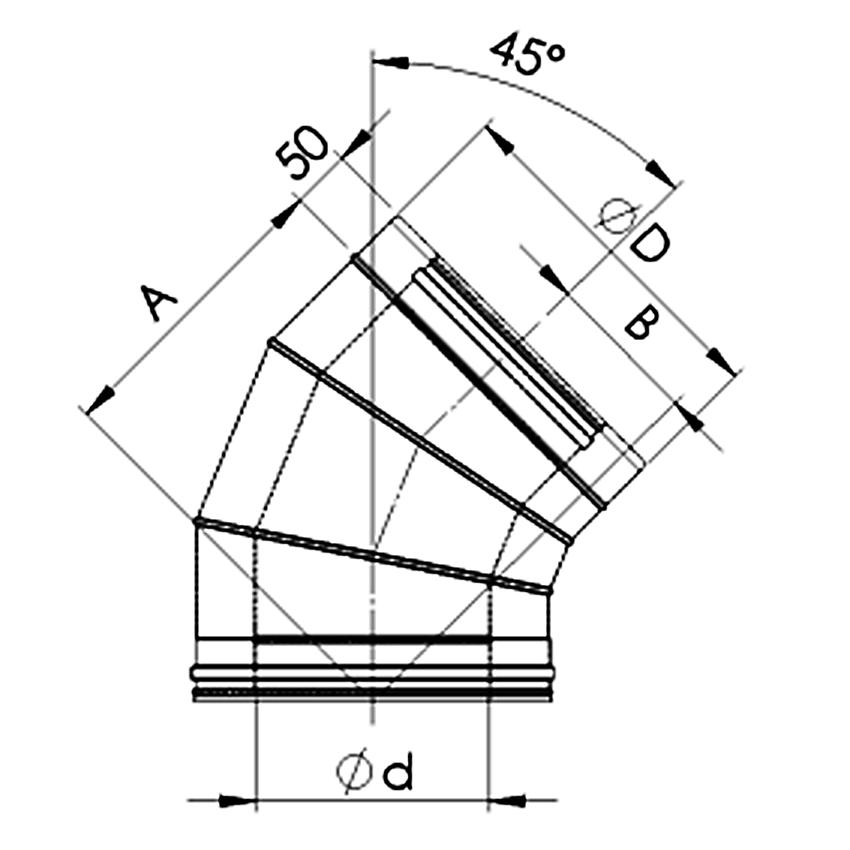 Dubultizolēta dūmvada līkums 45°