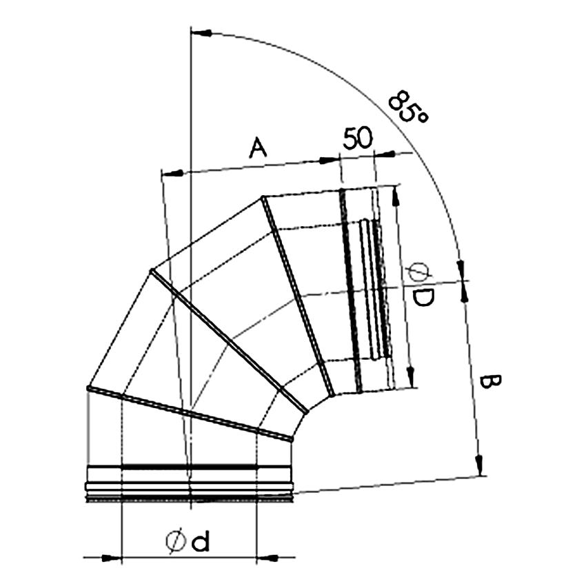 Dubultizolēta dūmvada līkums 85°
