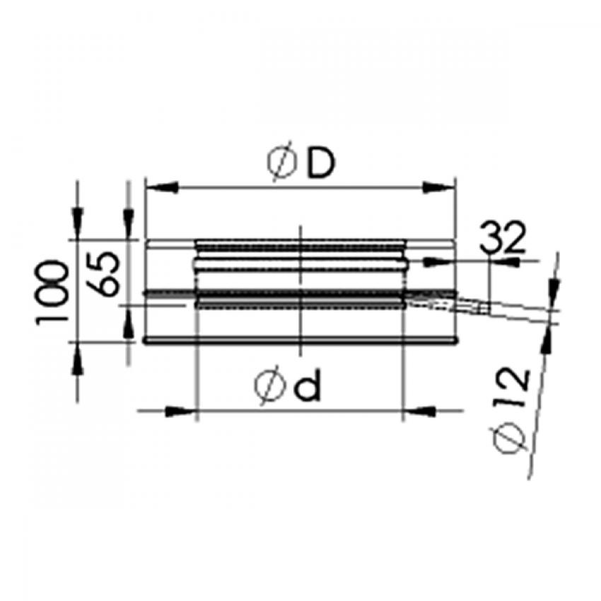 Dubultizolēta dūmvada kondensāta izvads - sānu