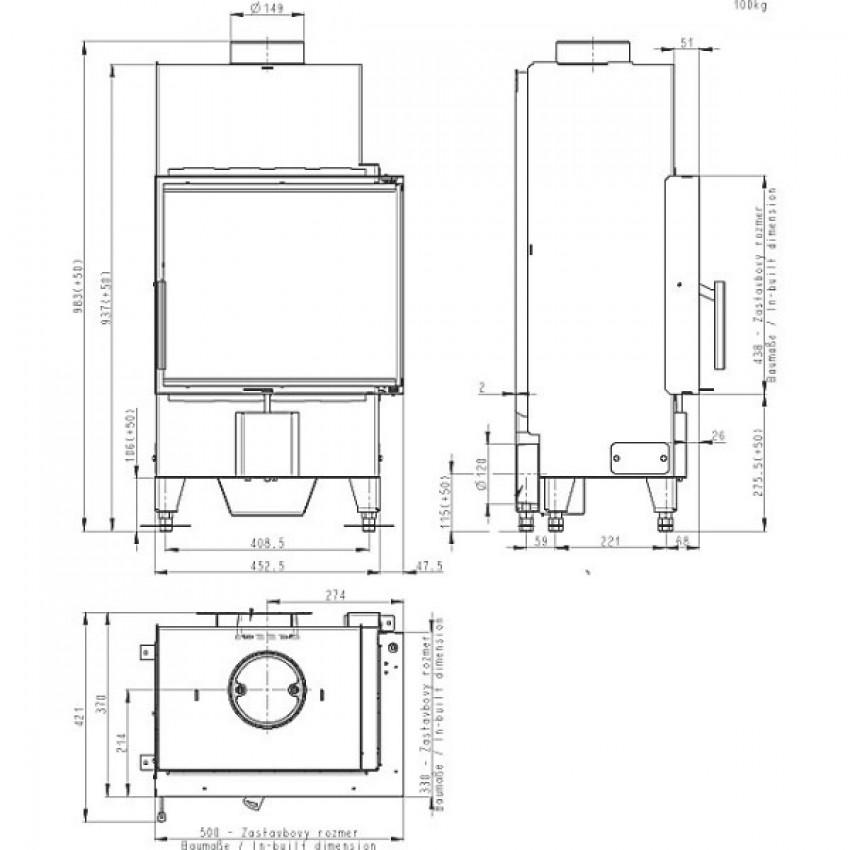 HEAT 50.44.33.23 ( HR2SV 23 ) Romotop kamīni
