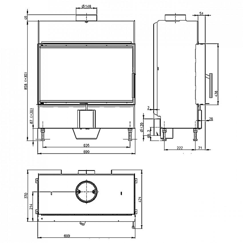 HEAT 70.44.13 ( H2P 13 ) Romotop kamīni