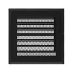 Kamīnu karstā gaisa restīte Oskar (melna) 17x17 ar žalūziju