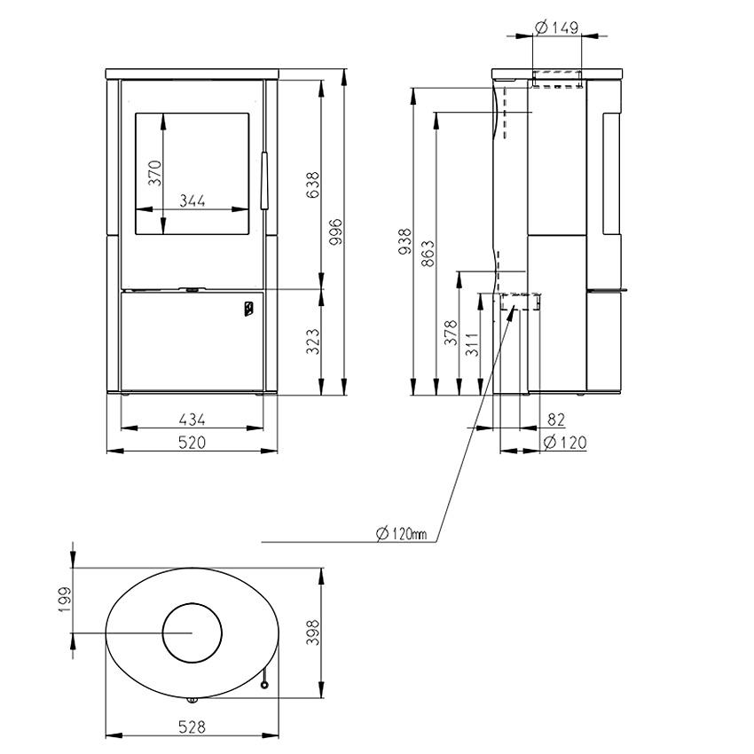 Romotop krāsniņas EVORA 01 (keramiskie sāni, augša)