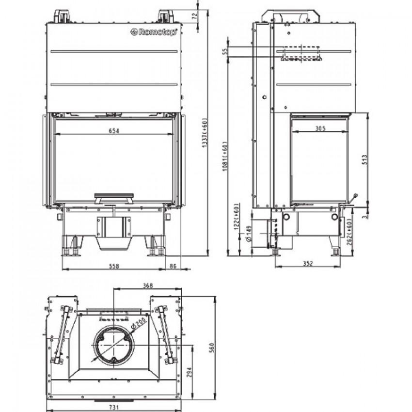 HEAT C  65.51.31.21 ( HC3LH 21 ) Romotop kamīni