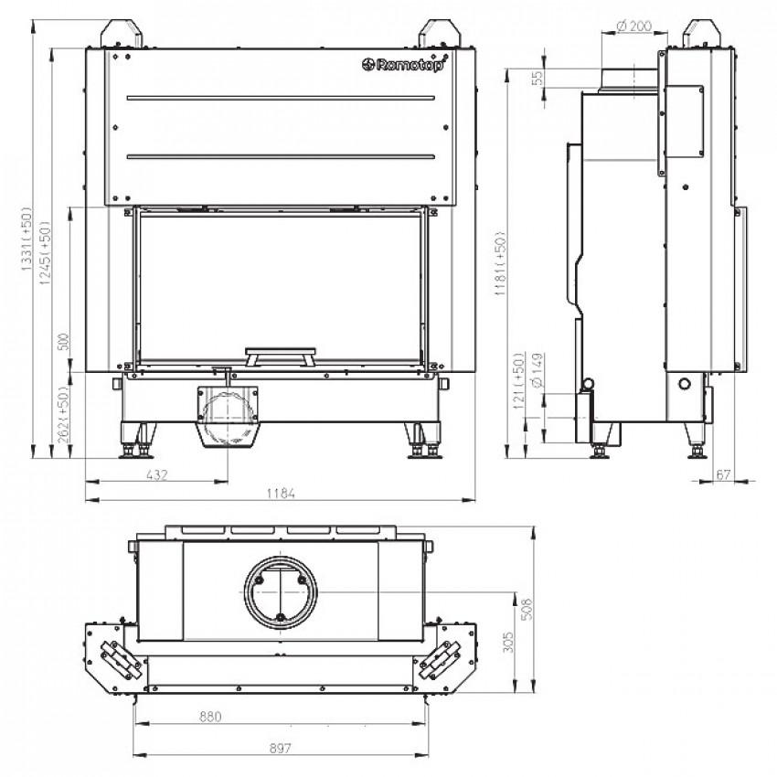 HEAT 88.50.01 ( H3LF 01) Romotop kamīni