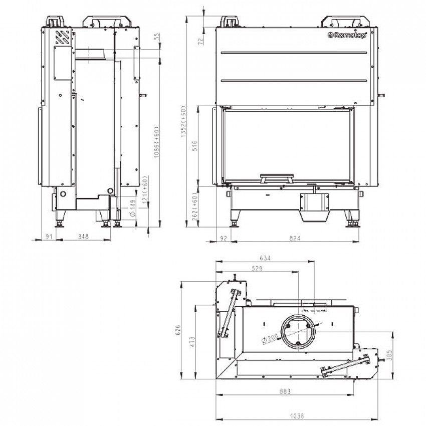 HEAT 81.51.40.01 (HR3LF 21) Romotop kamīni