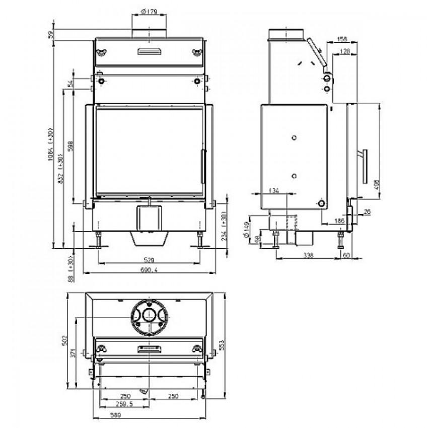 HEAT W 59.50 (HW2N 01) (centrālapkures) Romotop kamīni