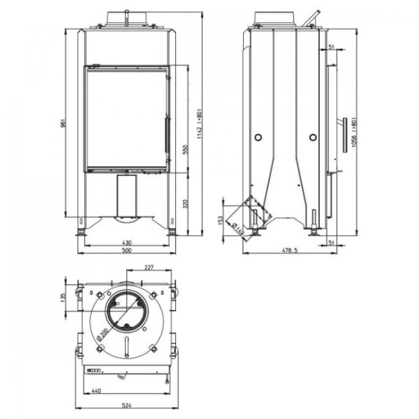 DYNAMIC 44.55.01 (D2L 01) DUBULTAIS STIKLS Romotop kamīni